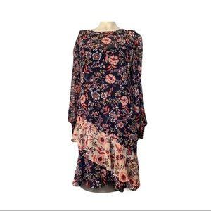 Eliza J Floral Print Ruffle Chiffon Dress SZ 12